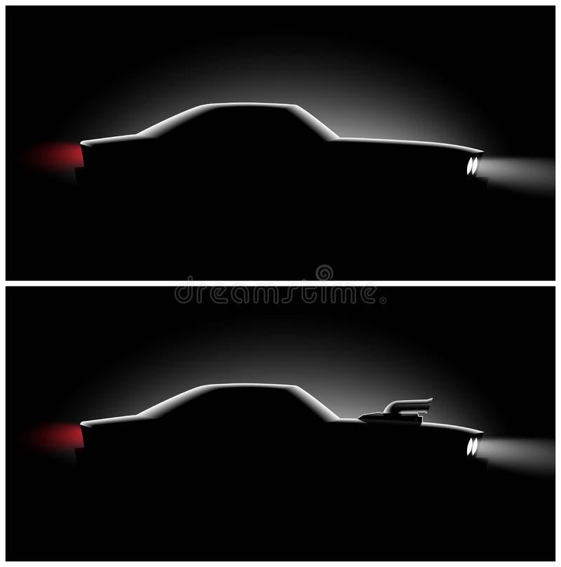 Coupé classique réaliste de voiture de l'ensemble deux avec une vue de côté de surchauffeur dans l'obscurité illustration de vecteur