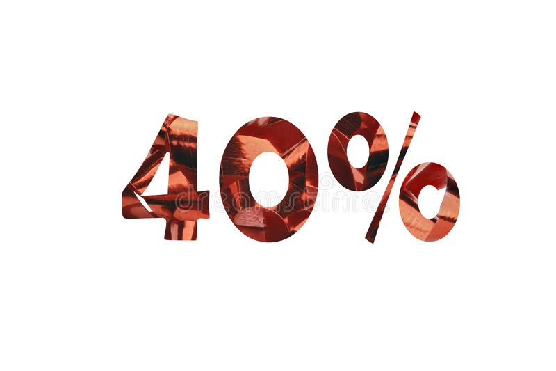 40% coupé d'une boucle rouge de cadeau photo stock