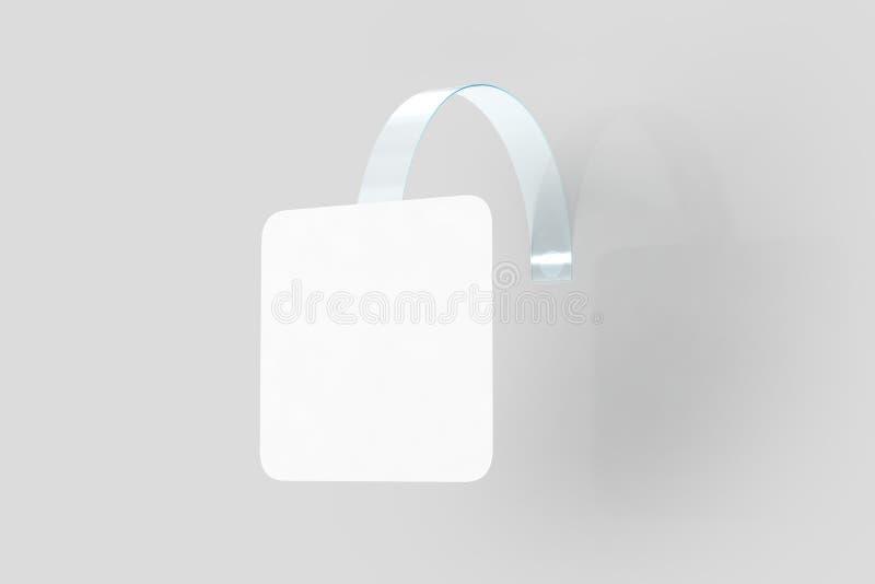 Coup blanc vide de wobbler sur la moquerie de mur, chemin de coupure photographie stock libre de droits