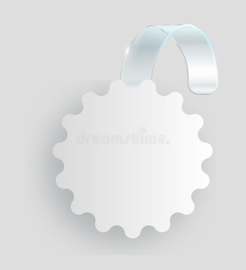 Coup blanc vide de wobbler sur la moquerie de mur, rendu 3d Espacez autour de la maquette de papier sur la bande transparente en  illustration stock