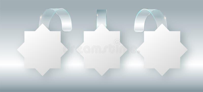 Coup blanc vide de wobbler sur la moquerie de mur, rendu 3d Espacez autour de la maquette de papier sur la bande transparente en  illustration libre de droits