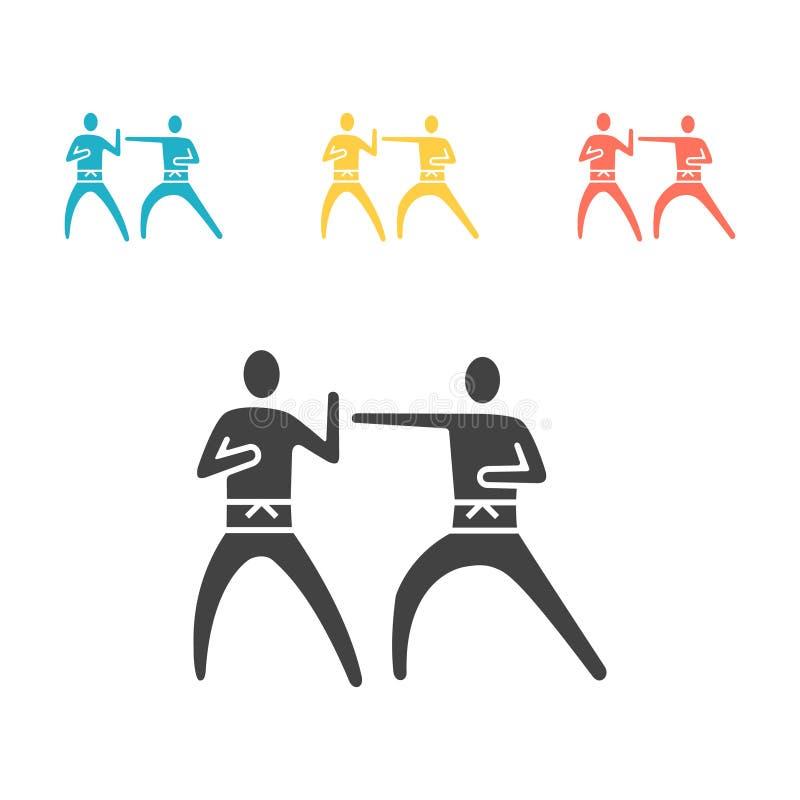 Coup de karaté et signe plat de vecteur d'icône de la défense illustration libre de droits