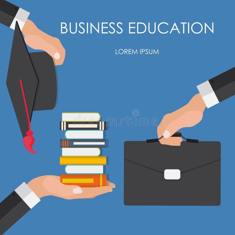Coup de main blanc d'isolement par éducation de concept d'affaires Tendances et innovation illustration stock