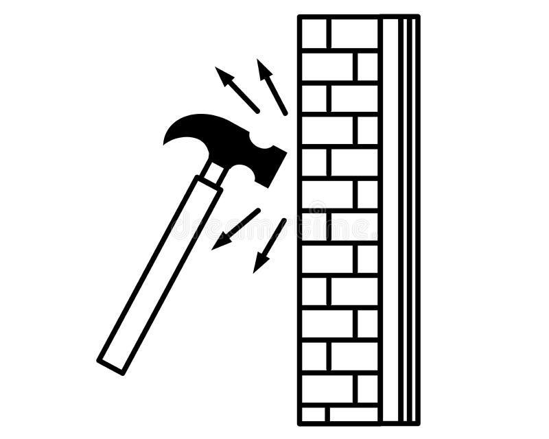 Coup de marteau sur le mur de briques Vecteur illustration stock