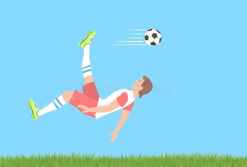 Coup-de-pied aérien du football illustration libre de droits