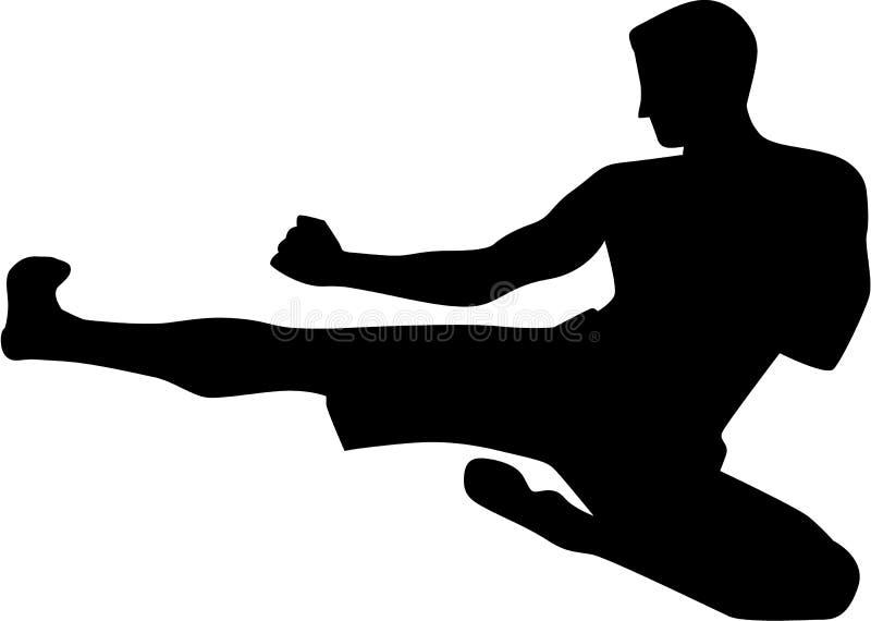 Coup-de-pied de combat de karaté illustration stock
