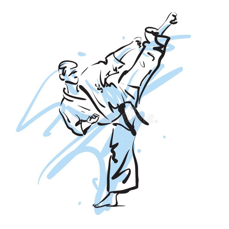 Coup-de-pied de karaté illustration de vecteur