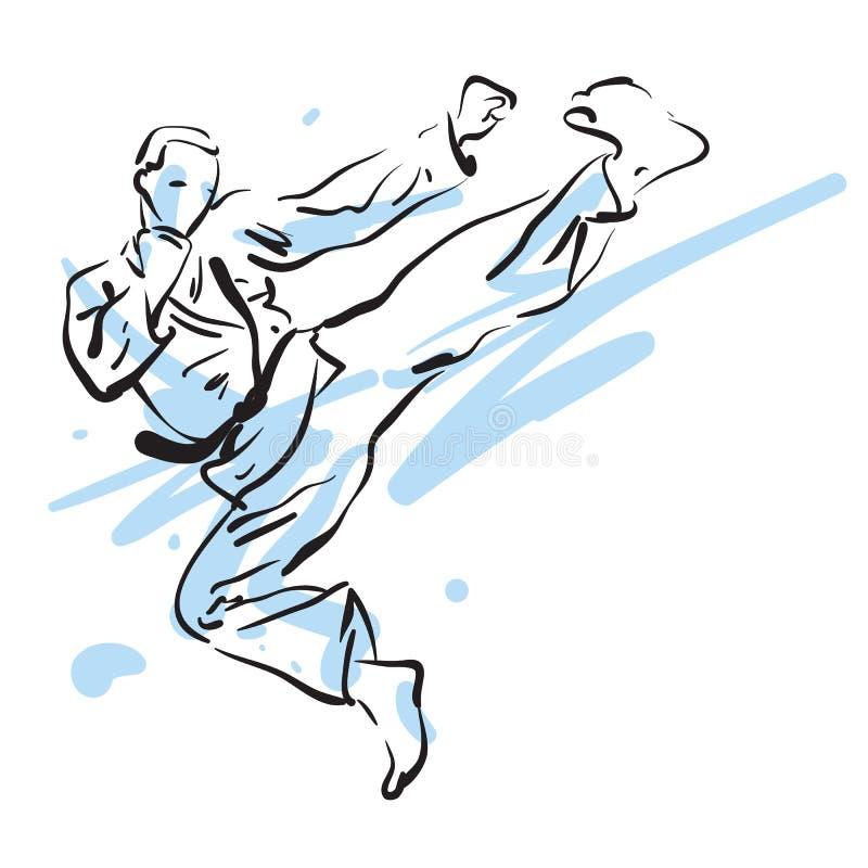 Coup-de-pied de karaté illustration stock
