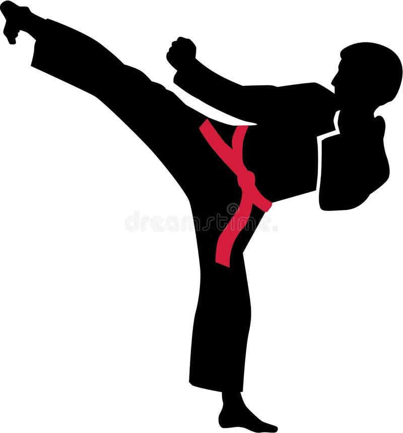Coup-de-pied de karaté avec la ceinture rouge illustration libre de droits