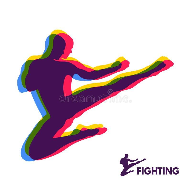 Coup-de-pied de saut de karaté chasseur Fuselage humain Symbole de sport Élément de conception enfants chinois de KONGFU illustration libre de droits
