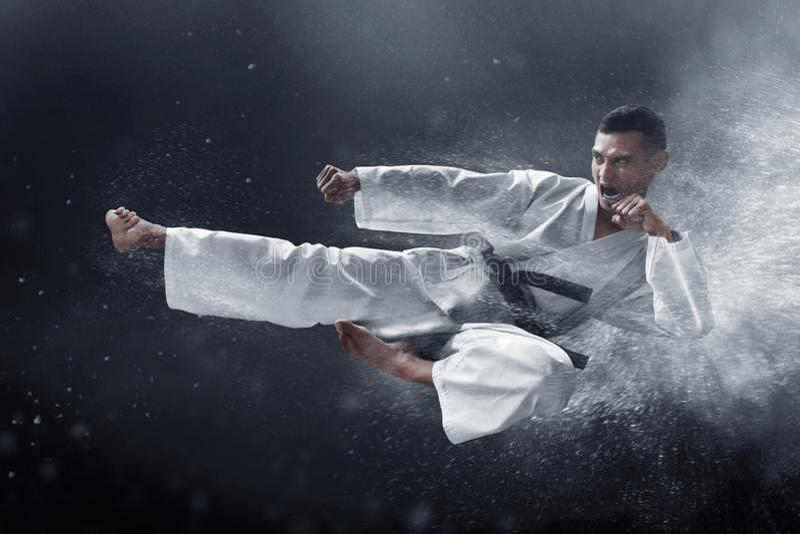 Coup-de-pied de saut de karaté d'arts martiaux photos libres de droits