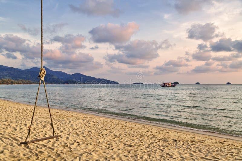 Coup en bois d'oscillation d'un arbre sur une plage et un coucher du soleil photographie stock libre de droits