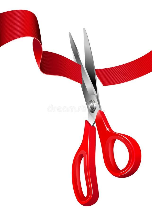 Coupant la bande rouge - cérémonie d'ouverture illustration de vecteur