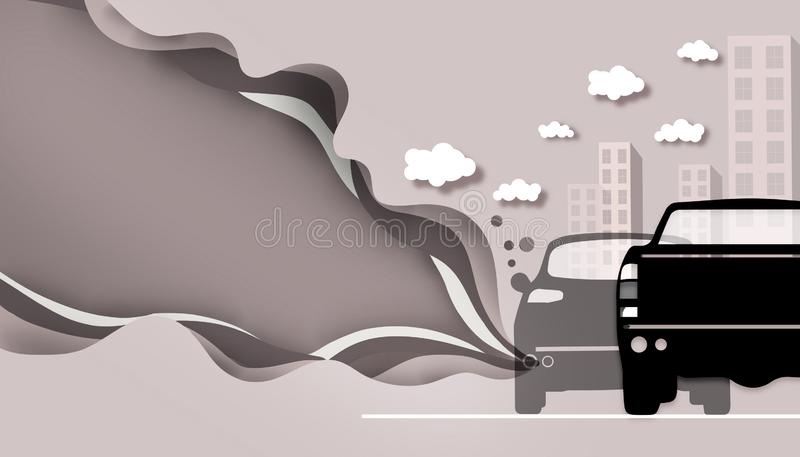 Coupant le papier - pollution de route de fumée de voiture illustration libre de droits