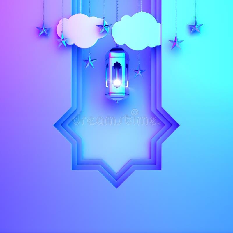 Coupe arabe de papier de fenêtre, lampe accrochante, nuage sur le fond violet rose bleu de gradient illustration de vecteur