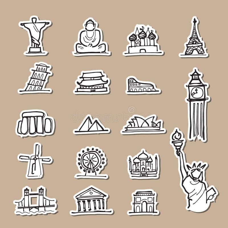 Coupe attrayante de papier d'icônes de dessin d'emplacement de voyage illustration libre de droits