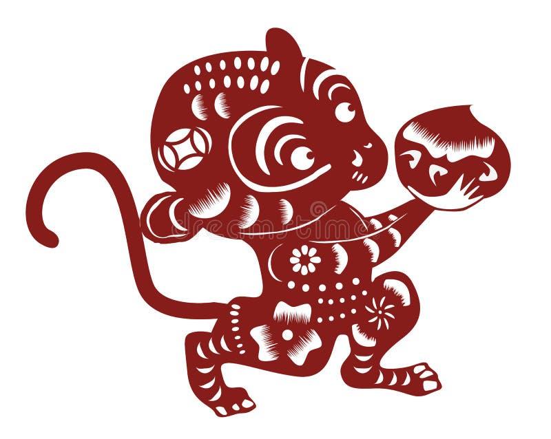 Coupe chinoise de papier de singe illustration de vecteur