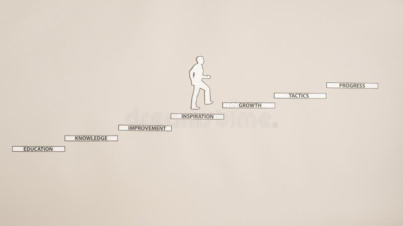 Coupe-circuit de papier de silhouette d'un homme montant les escaliers avec le readin images libres de droits