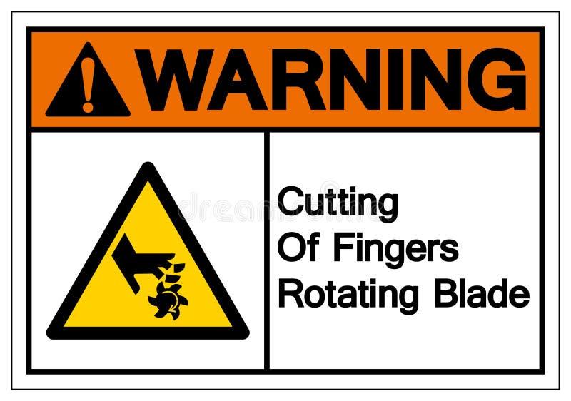 Coupe de avertissement des doigts tournant le signe de symbole de lame, illustration de vecteur, isolat sur le label blanc de fon illustration libre de droits