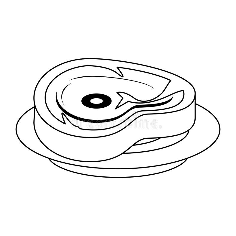 Coupe de boeuf de barbecue de nourriture de viande d'isolement en noir et blanc illustration stock