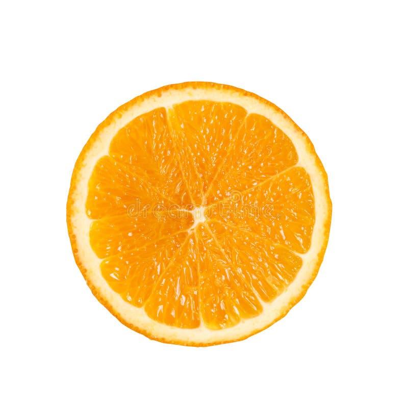 Coupe de cercle de glissière du fruit orange frais mûr d'isolement sur le petit morceau photographie stock libre de droits