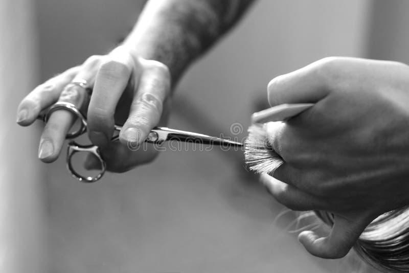 Coupe de cheveux dans le coiffeur de salon, plan rapproché de ciseaux dans les mains du maître photos libres de droits