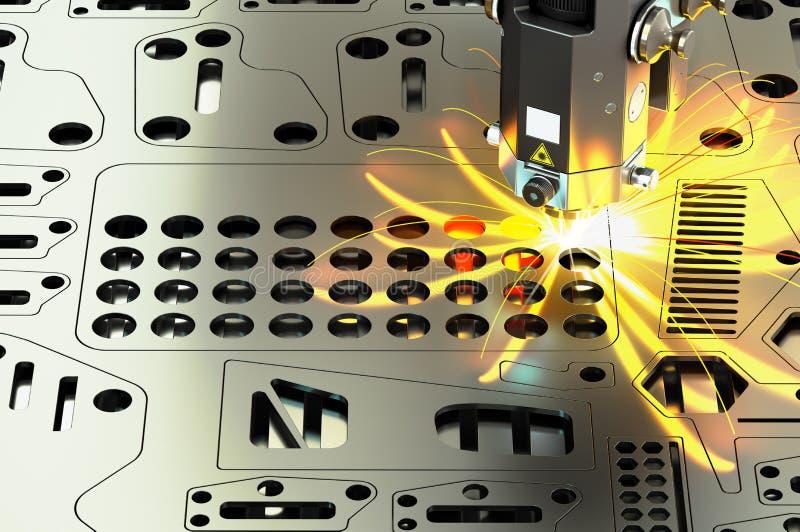 Coupe de laser de feuillard avec des étincelles, rendu 3D illustration libre de droits