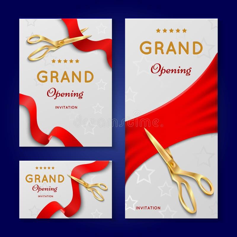 Coupe de ruban avec des cartes d'invitation de vecteur de cérémonie d'ouverture officielle de ciseaux, bannières illustration libre de droits