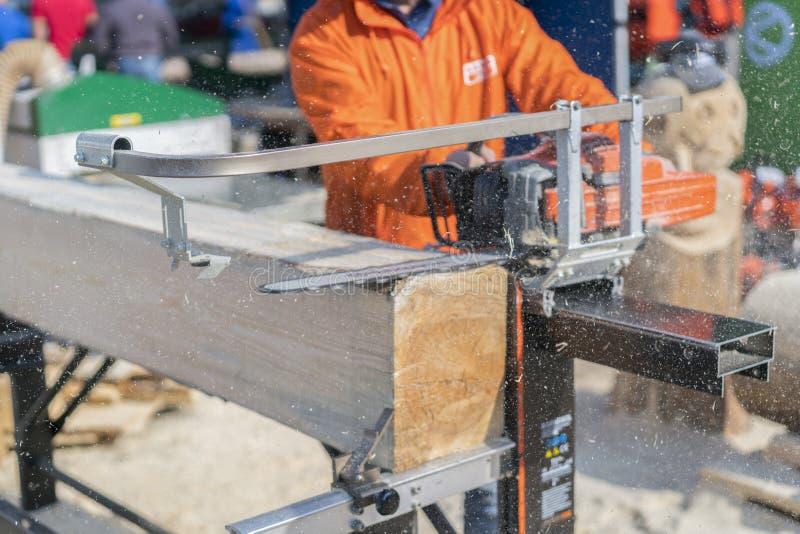 Coupe de scierie Rondin en bois étant coupé avec la tronçonneuse Bois de charpente et bois de construction Menuiserie et industri photos stock