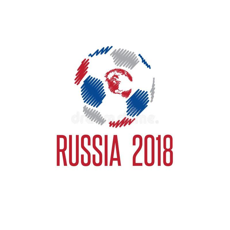 Coupe du monde dans l'illustration de vecteur de la Russie avec la boule illustration libre de droits