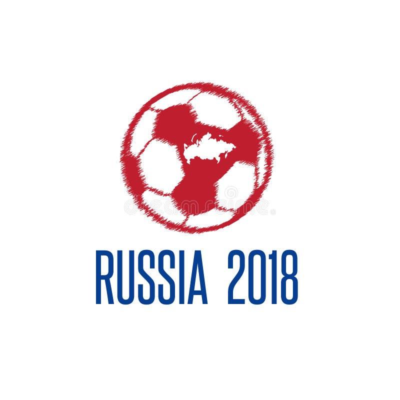 Coupe du monde dans l'illustration de vecteur de la Russie avec la boule et la carte illustration stock