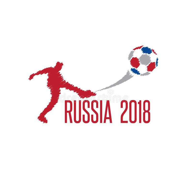 Coupe du monde dans l'illustration de vecteur de la Russie avec le joueur illustration stock