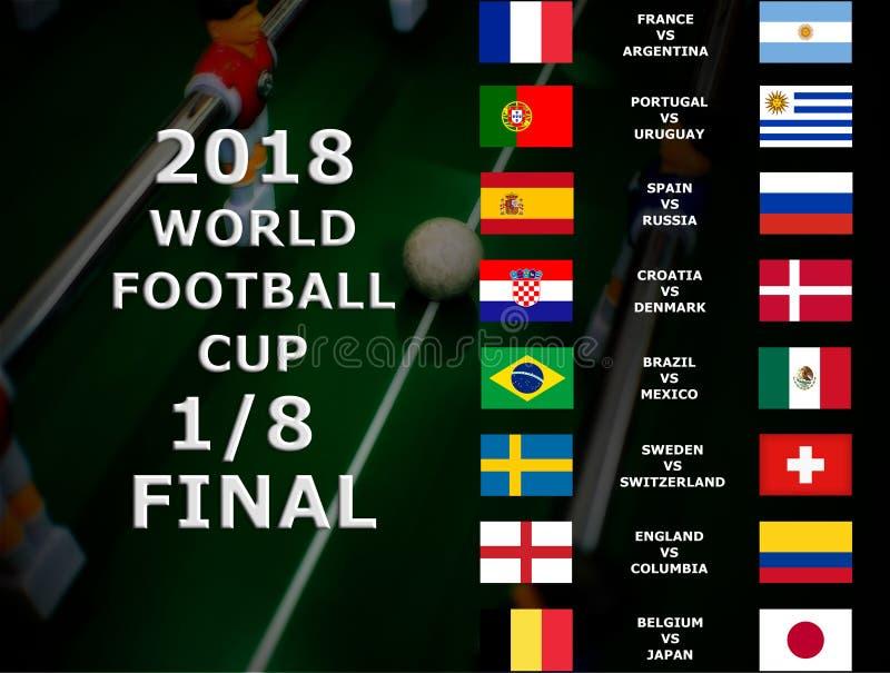 Coupe du monde de Fifa Russie 2018, match de football championnat final Un huitième de la tasse La Belgique, Japon, Brésil, Mexiq photographie stock libre de droits