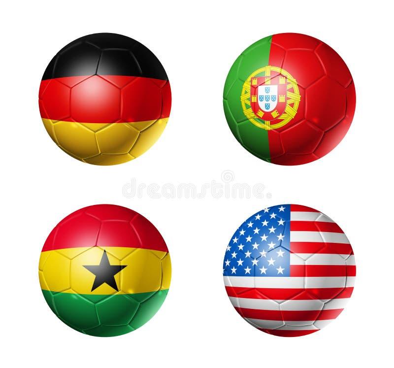 Coupe du monde du Brésil drapeaux de 2014 groupes G sur le ballon de football illustration libre de droits