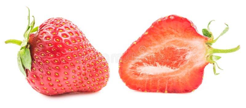 Coupe et fraise entière d'isolement image stock