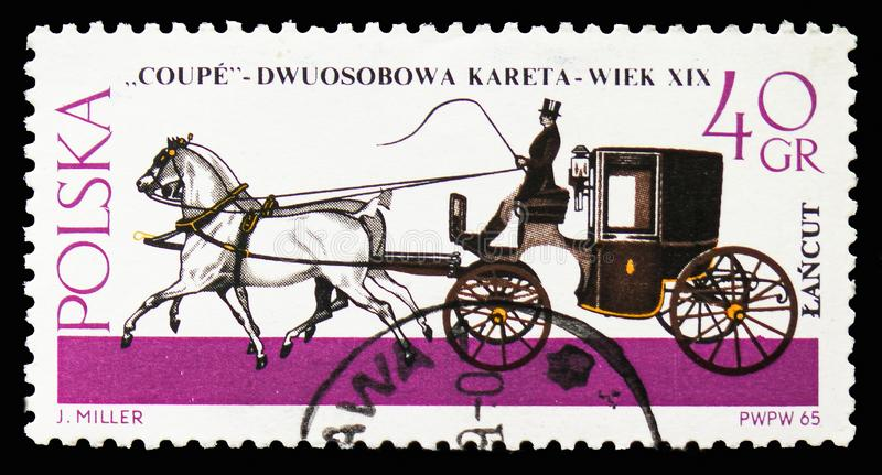 Coupe, Horse-drawn Carriages, Lancut Museum serie, circa 1965. MOSCOW, RUSSIA - SEPTEMBER 15, 2018: A stamp printed in Poland shows Coupe, Horse-drawn Carriages royalty free stock photo
