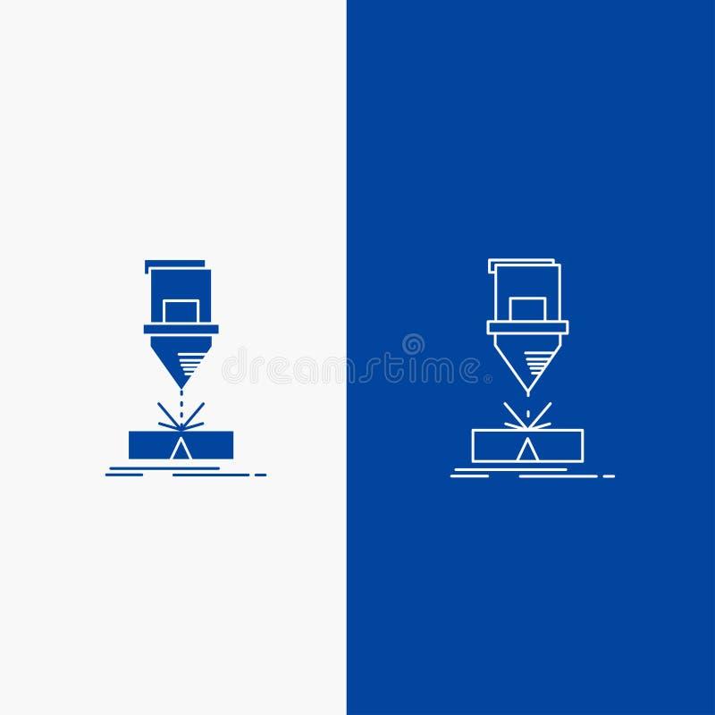 Coupe, ingénierie, fabrication, laser, bouton de Web en acier de ligne et de Glyph dans la bannière verticale de couleur bleue po illustration libre de droits