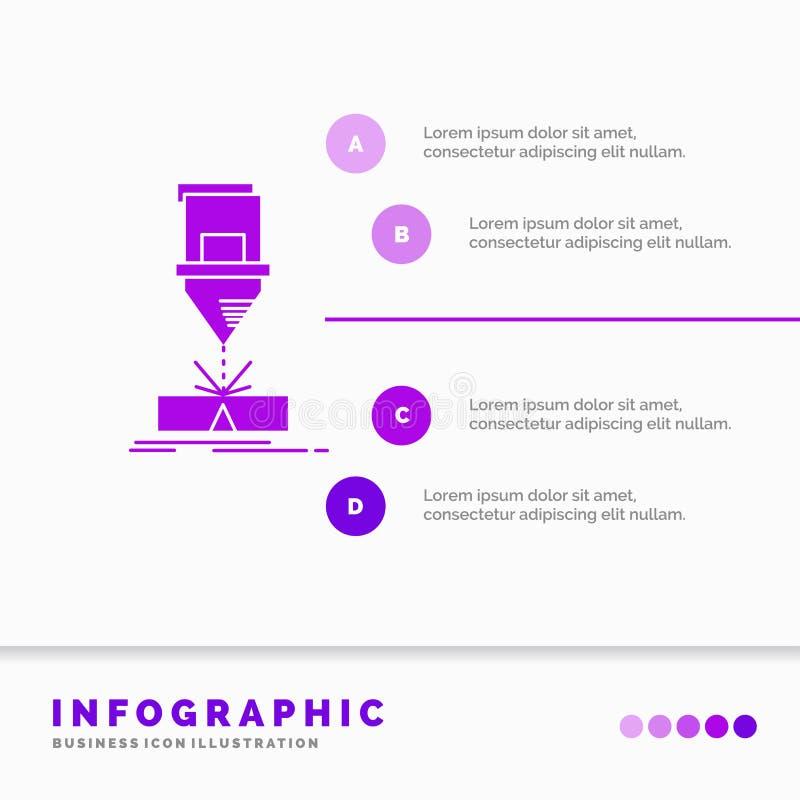Coupe, ingénierie, fabrication, laser, calibre en acier d'Infographics pour le site Web et présentation E illustration libre de droits