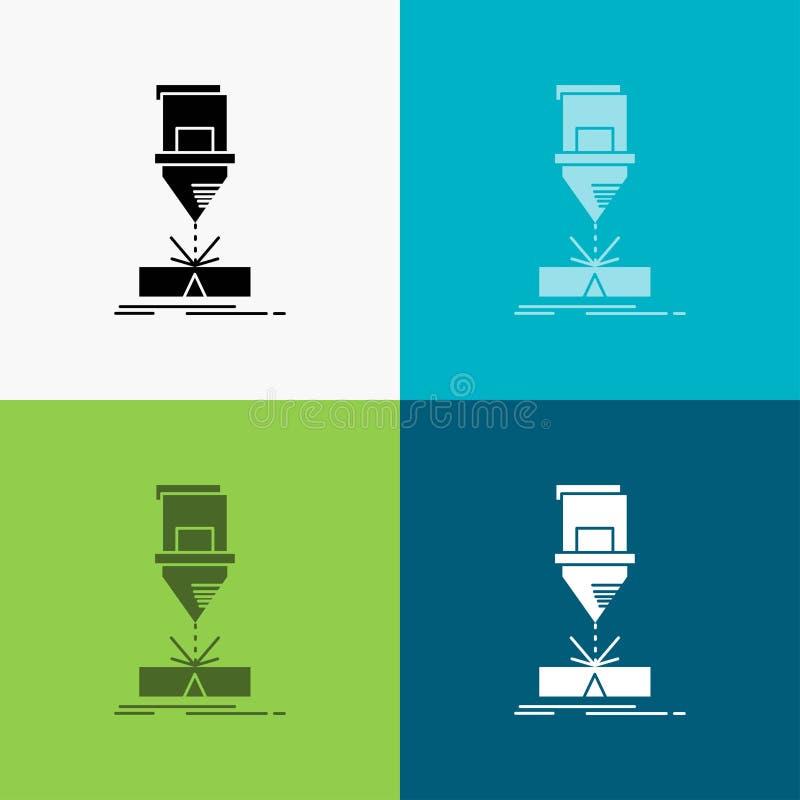 Coupe, ingénierie, fabrication, laser, icône en acier au-dessus de divers fond conception de style de glyph, con?ue pour le Web e illustration de vecteur