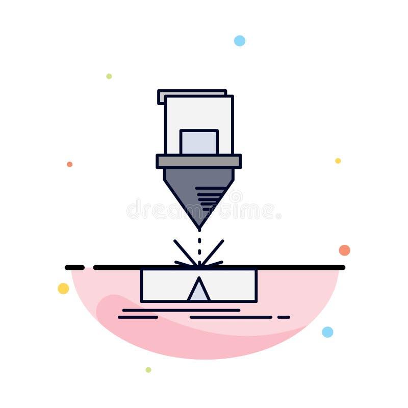 Coupe, ingénierie, fabrication, laser, vecteur d'icône de couleur de produit plat illustration stock