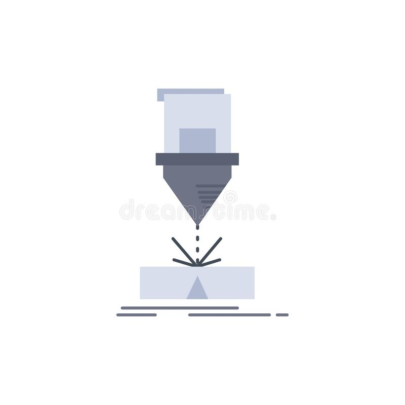 Coupe, ingénierie, fabrication, laser, vecteur d'icône de couleur de produit plat illustration libre de droits