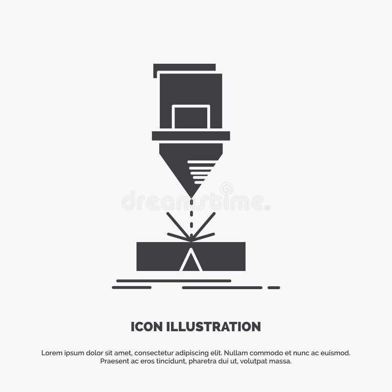 Coupe, ing?nierie, fabrication, laser, ic?ne en acier symbole gris de vecteur de glyph pour UI et UX, site Web ou application mob illustration libre de droits