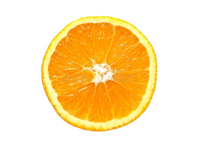 Coupe orange mûre fraîche dans la moitié image libre de droits