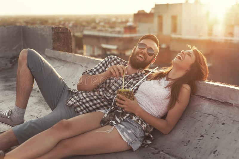 Coupe on a rooftop party royalty free stock images