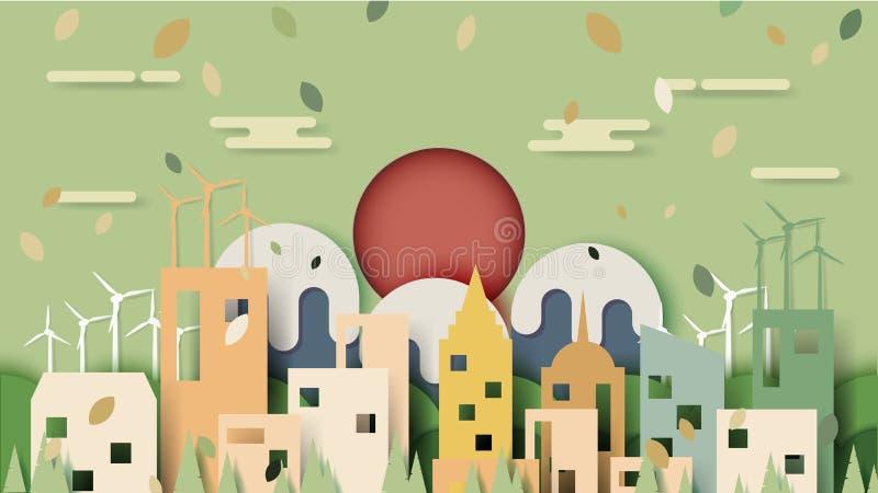 Coupe urbaine de papier de scène de paysage urbain d'eco vert illustration stock