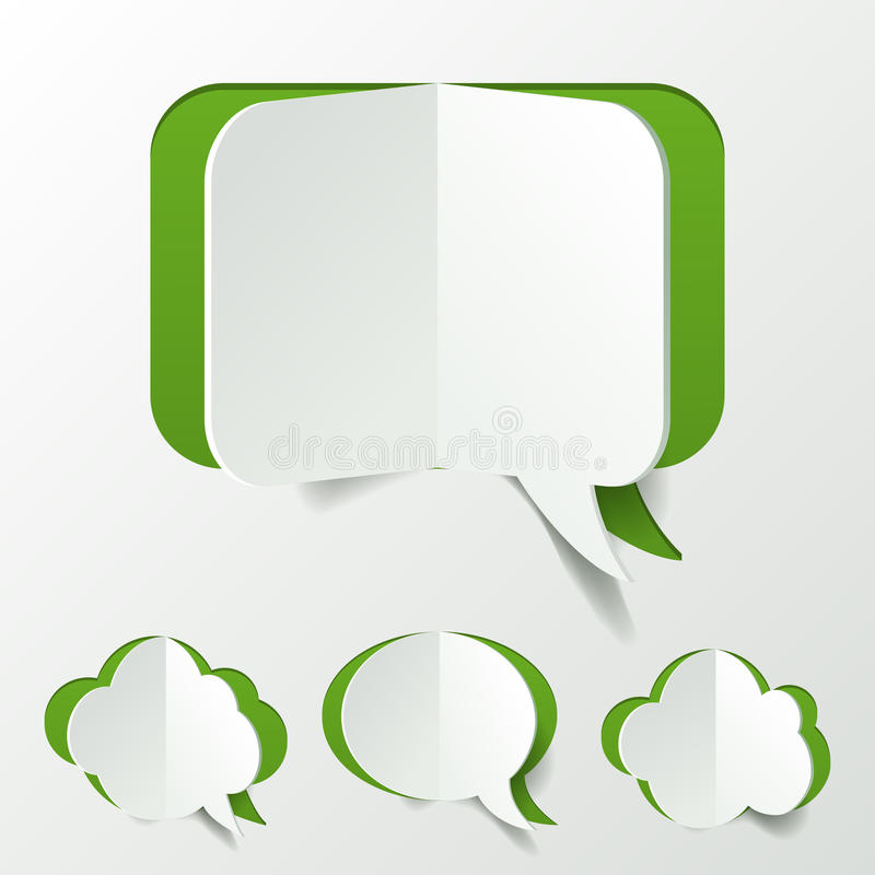 Coupe verte abstraite d'ensemble de bulle de la parole de papier illustration stock