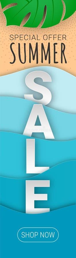 Coupe verticale de papier de bannière de vente d'été illustration libre de droits