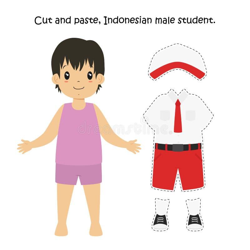 Couper-coller, étudiant masculin indonésien Uniform Vector illustration stock