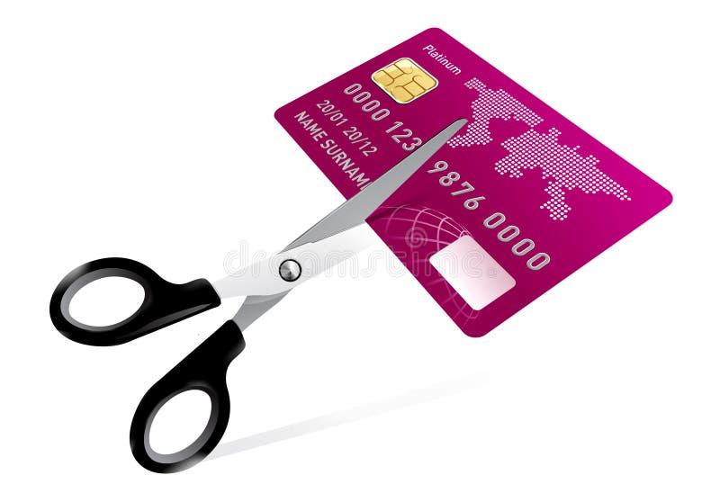 Couper de ciseaux par la carte de crédit illustration libre de droits