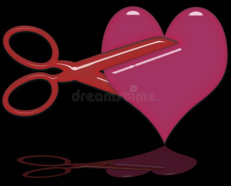 Couper un coeur illustration stock
